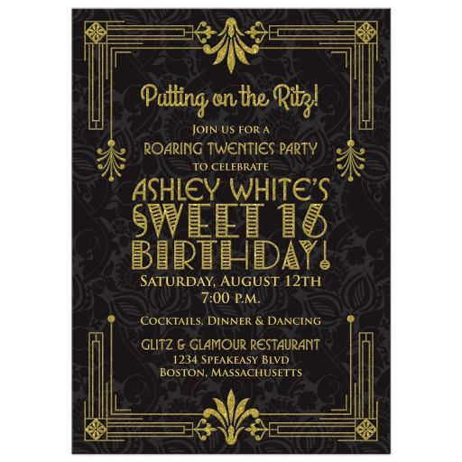 Black and gold roaring 20s (roaring twenties) art deco style sweet 16 invitation front