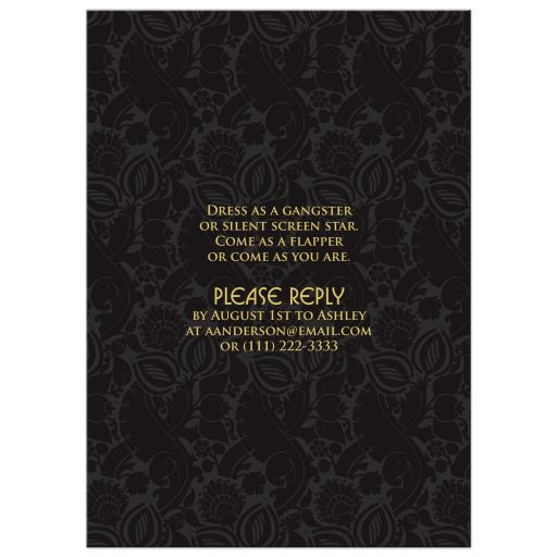 Black and gold roaring 20s (roaring twenties) art deco style sweet 16 invitation back