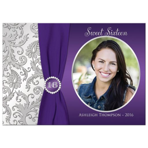 Best purple and silver sweet 16 birthday party invitation with ribbon and jewels