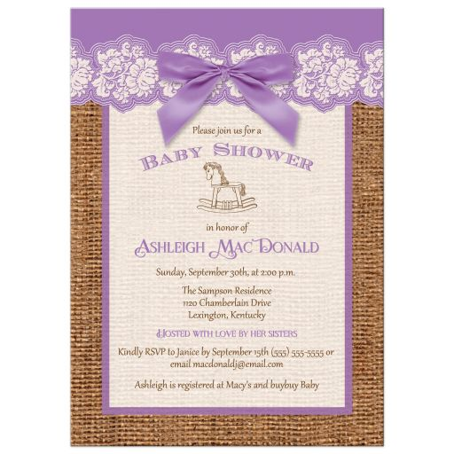 Faux burlap ribbon rocking horse purple Baby Shower Invitation
