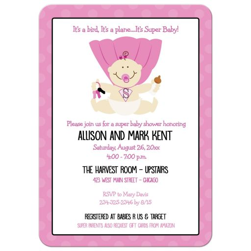 Super Baby Hero Girl Baby Shower Invitation