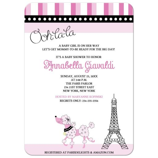 Paris Poodle Girl Baby Shower Invitations Paris theme