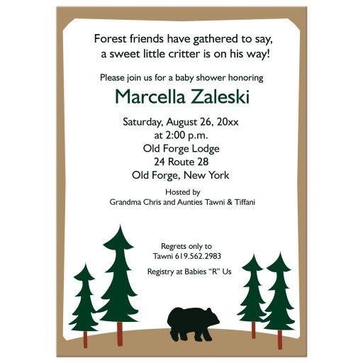 Rustic Bear Lodge Woodland theme baby shower invitations