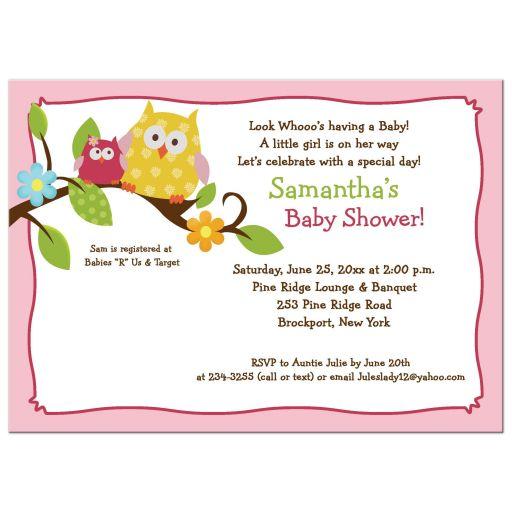 Happy Tree Owls Pink Girl Baby Shower Invitation