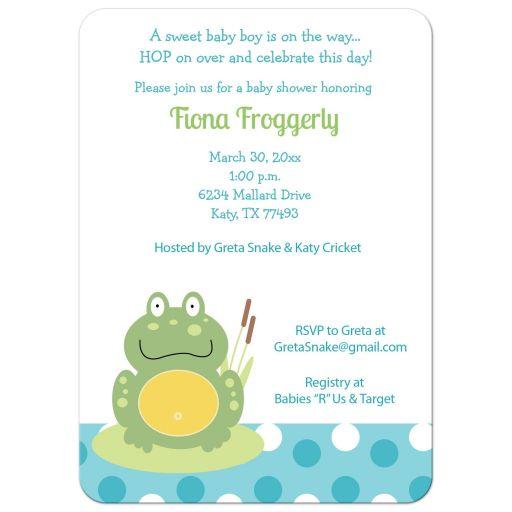 Green Pond Frog Baby Shower Invitations