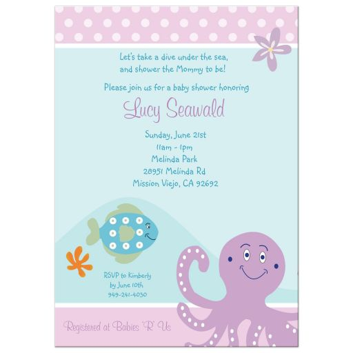 Purple Octopus Girl Baby Shower Invitations