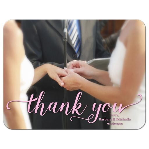 Modern Typography Photo Flat Thank You Card