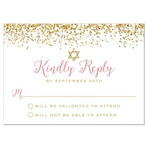 Gold Glitter Look Confetti Joy Bat Mitzvah RSVP Cards