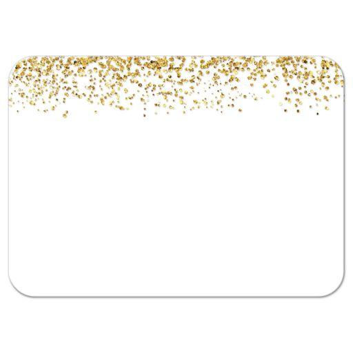 Gold Glitter Look Confetti Joy Bat Mitzvah RSVP Cards  back