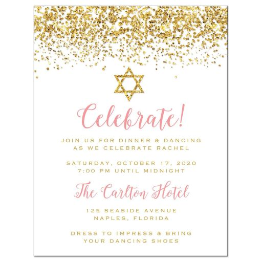 Gold Glitter Look Confetti Joy Bat Mitzvah Reception Cards