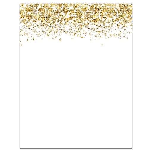 Gold Glitter Look Confetti Joy Bat Mitzvah Reception Cards back