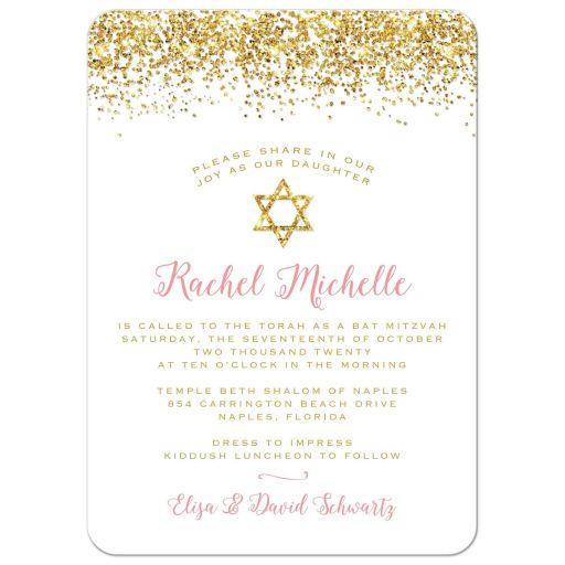 Glitter Look Confetti Joy Bat Mitzvah Invitations
