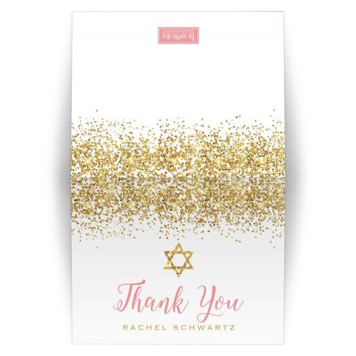 Gold Glitter Look Confetti Joy Bat Mitzvah Thank You Cards