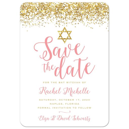 Gold Glitter Look Confetti Joy Bat Mitzvah Save The Dates front