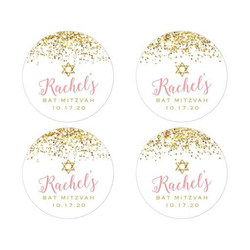 Gold Glitter Look Confetti Joy Bat Mitzvah Stickers