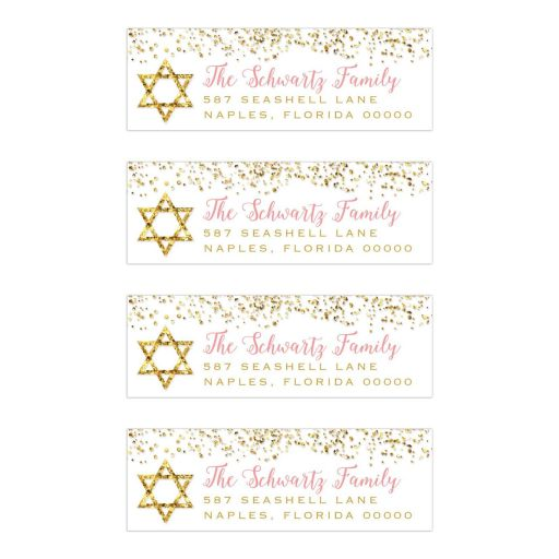 Gold Glitter Look Confetti Joy Bat Mitzvah Return Address Labels