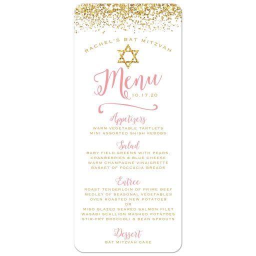 Gold Glitter Look Confetti Joy Bat Mitzvah Menu Cards