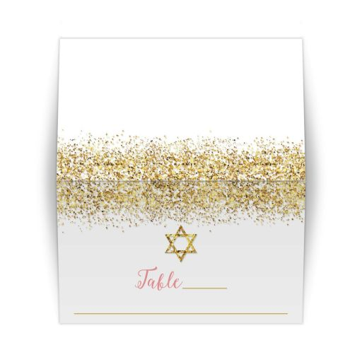 Gold Glitter Look Confetti Joy Bat Mitzvah Place Cards