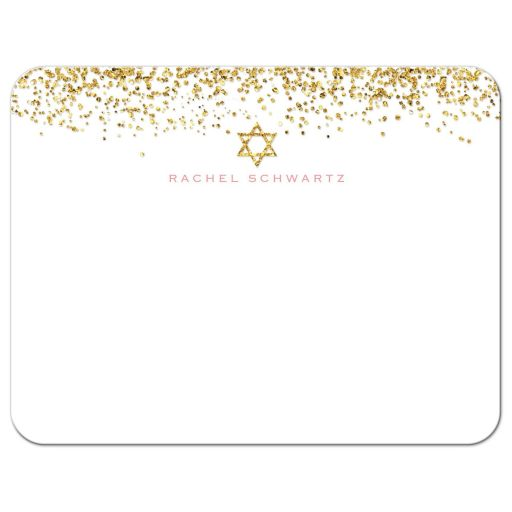 Gold Glitter Look Confetti Joy Bat Mitzvah Personalized Notecards
