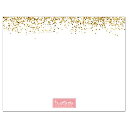 Gold Glitter Look Confetti Joy Bat Mitzvah Personalized Notecards back
