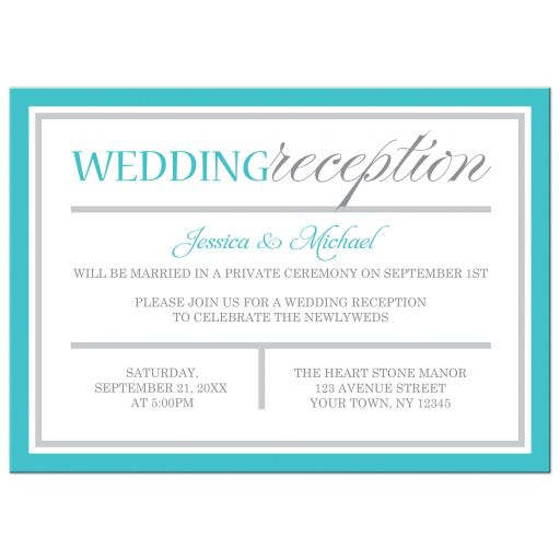 Reception Only Invitations - Modern Turquoise and Gray