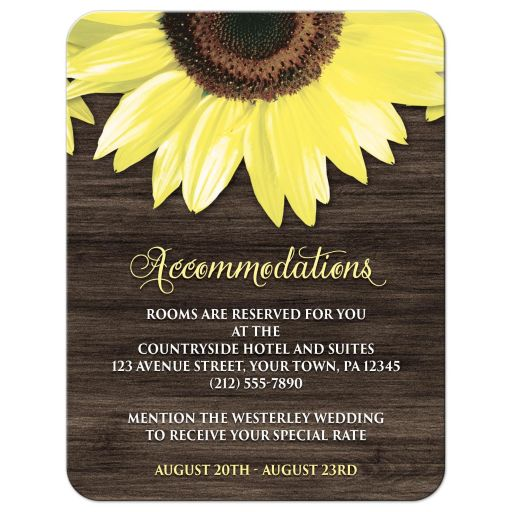 Accommodations Cards - Rustic Sunflower and Wood
