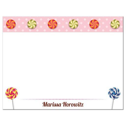 Bat Mitzvah Flat Thank You Card - Sweet Pink Polka Dot Candy Buffet
