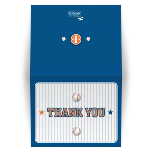 Bar Bat Mitzvah Folded Thank You Card - Blue Orange Pinstripe Baseball Sports Card