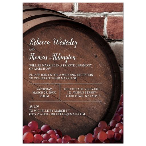 Reception Only Invitations - Rustic Wine Barrel Vineyard