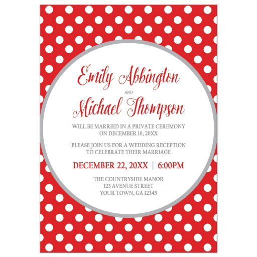 Reception Only Invitations - Gray and Gray Polka Dot