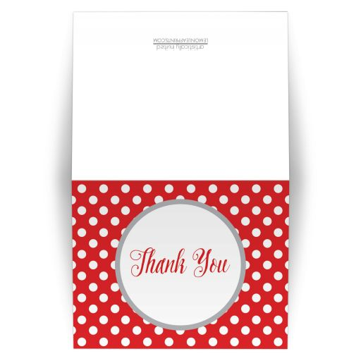 Thank You Cards - Gray and Red Polka Dot