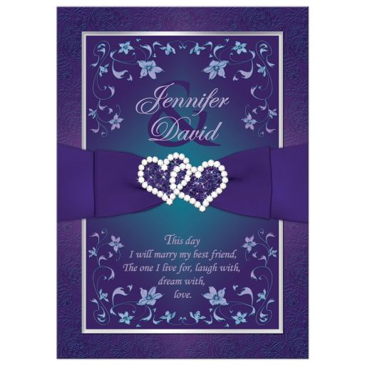 Best teal blue and purple wedding invitation with joined jewel and glitter hearts, ribbon and bow