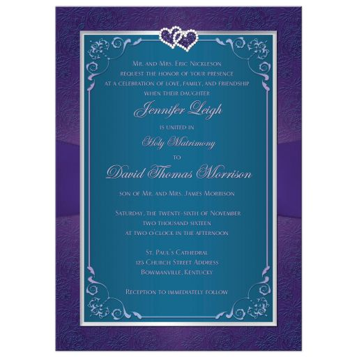 Great purple and teal green wedding invite with ribbon, bow, jewels, glitter and joined hearts