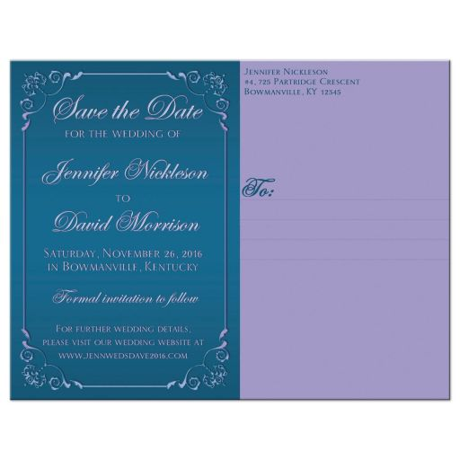 Great purple and teal green wedding save the date card with ribbon, bow, jewels, glitter and joined hearts