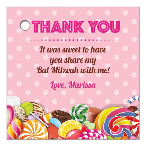 Bat Mitzvah Thank You Favor Tag - Sweet Pink Polka Dot Candy Buffet