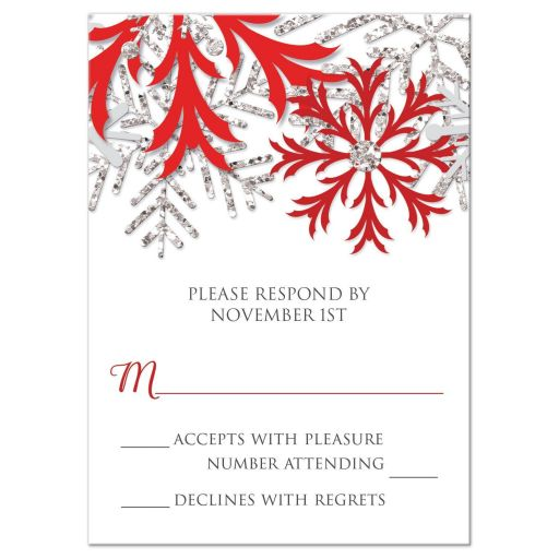 RSVP Reply Cards - Winter Snowflake Red Silver