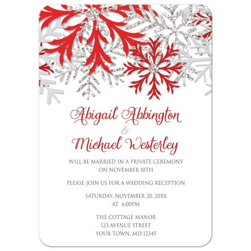 Reception Only Invitations - Winter Snowflake Red Silver
