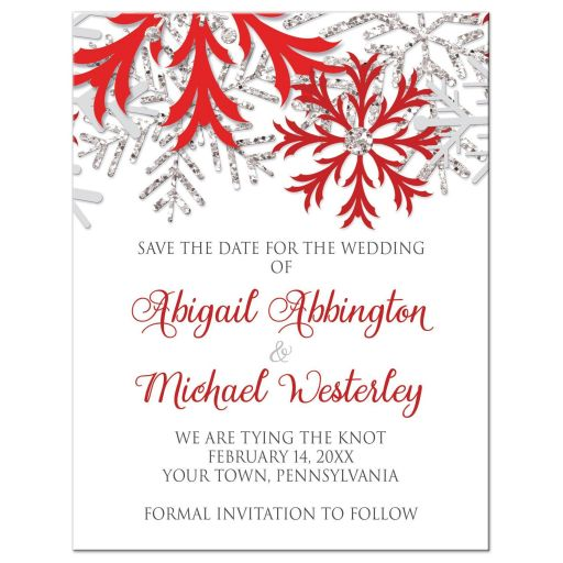 Save the Date Cards - Winter Snowflake Red Silver
