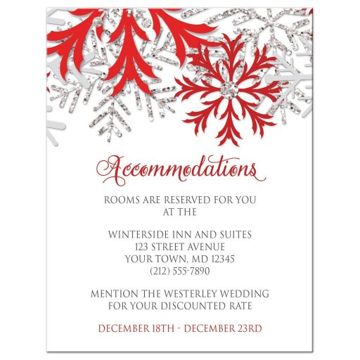 Accommodations Cards - Winter Snowflake Red Silver