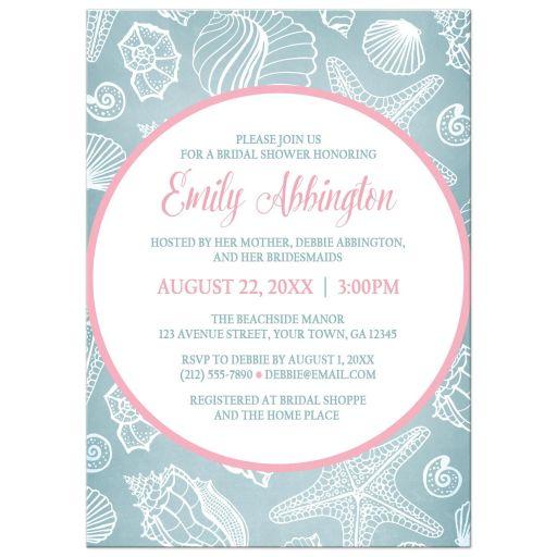 Bridal Shower Invitations - Blue Seashell Pink Beach