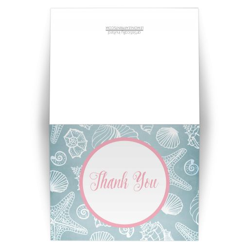 Thank You Cards - Blue Seashell Pink Beach