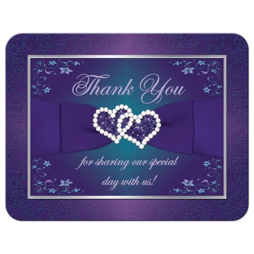 Best teal blue and purple wedding thank you card with joined jewel and glitter hearts, ribbon and bow