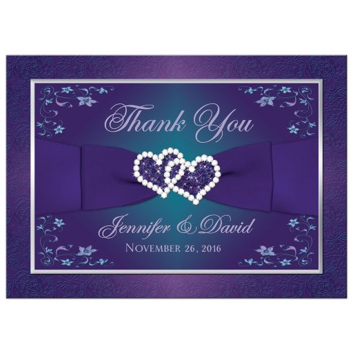 Best teal blue and purple wedding photo thank you card with joined jewel and glitter hearts, ribbon and bow