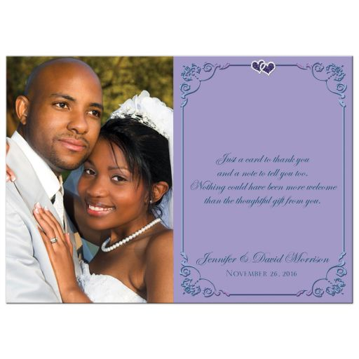 Great purple and teal green wedding thank you note card with photo, ribbon, bow, jewels, glitter and joined hearts