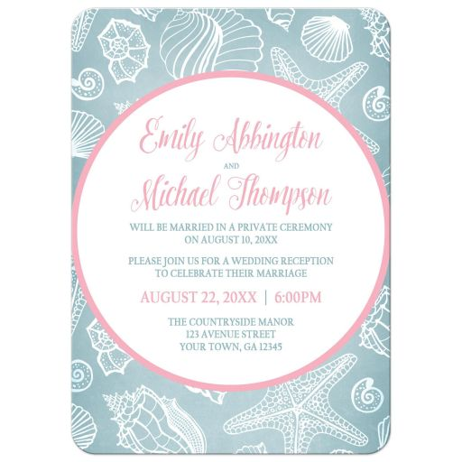 Reception Only Invitations - Blue Seashell Pink Beach