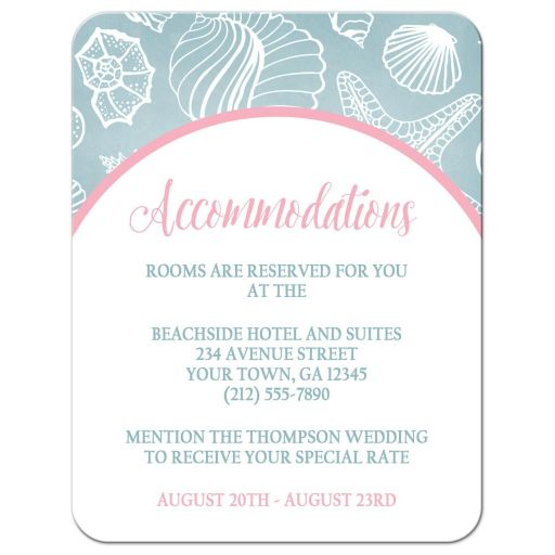 Accommodations Cards - Blue Seashell Pink Beach