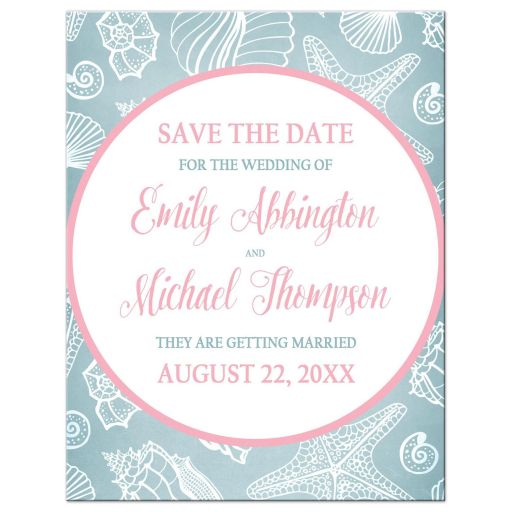 Save the Date Cards - Blue Seashell Pink Beach
