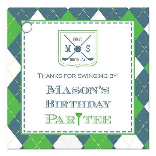 Preppy argyle plaid boy's birthday favor gift tags