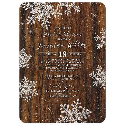 Rustic winter snowflake and wood bridal shower invitation front