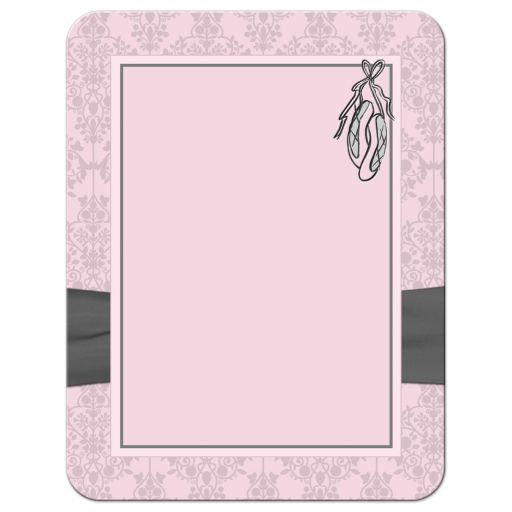 great pink and grey damask ballerina bat mitzvah birthday thank you card